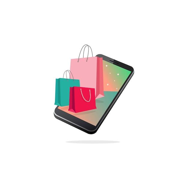 モバイルショッピングバッグ Premiumベクター