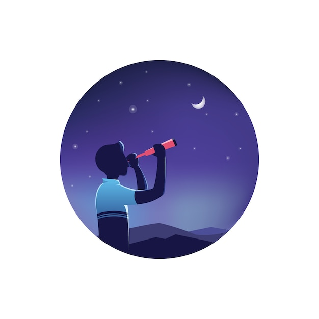 望遠鏡を通して夜の星空を見ている男 Premiumベクター