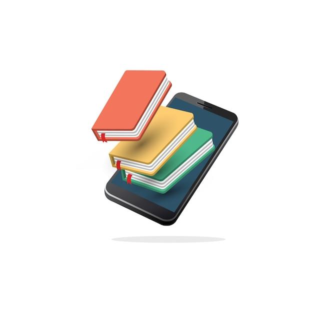 アイソメトリックオンラインモバイルライブラリ Premiumベクター