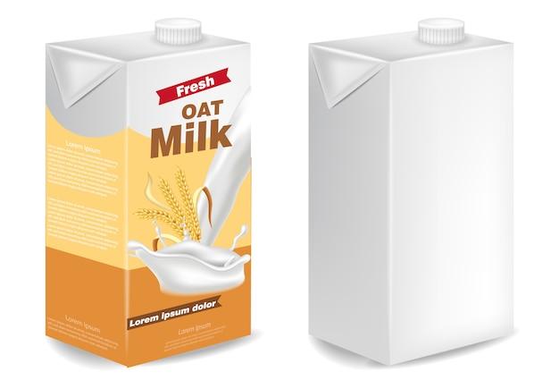 Макеты пакетов с овсяным молоком Premium векторы