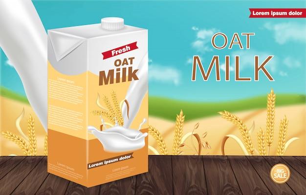 Макет пакета овсяного молока Premium векторы