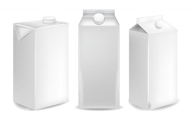 Макеты пустых пакетов молока Premium векторы