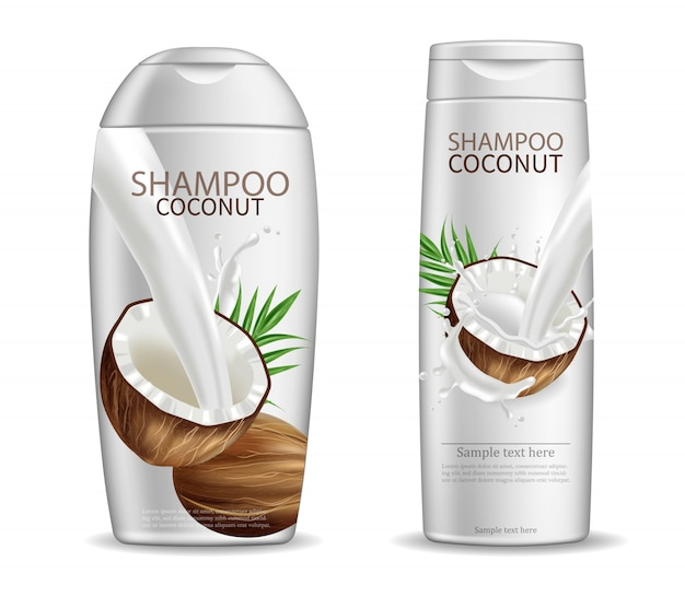 Упаковка кокосового шампуня Premium векторы