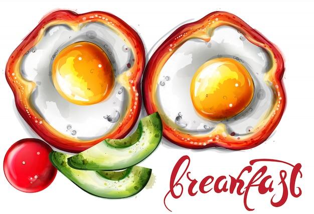 卵の朝食の水彩画 Premiumベクター
