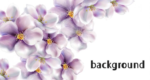 桜の花のウェディングカードの水彩画 Premiumベクター
