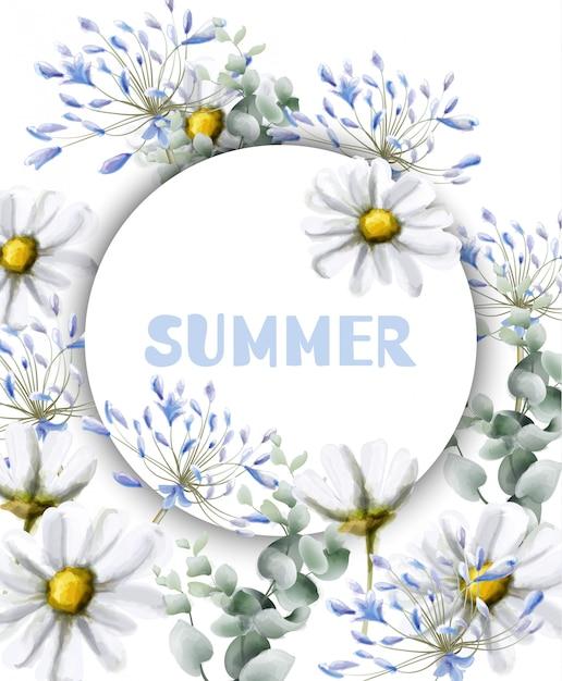 Ромашка летняя открытка акварель Premium векторы