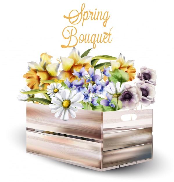 ボックスの水彩画で春の花の花束 Premiumベクター