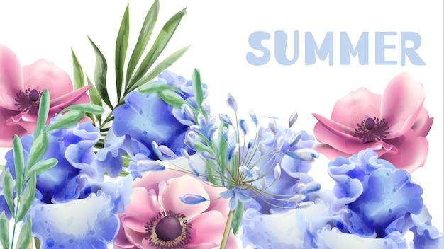 夏の花の水彩画 Premiumベクター
