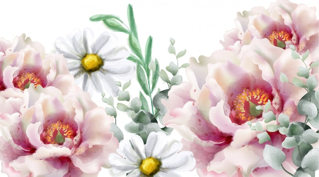 春の花の水彩画 Premiumベクター