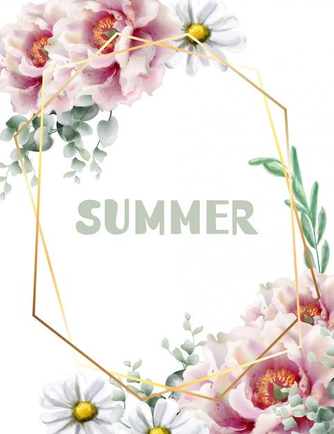 春の花のフレームカードの水彩画 Premiumベクター