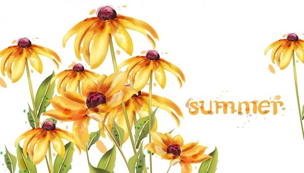 黄色の花の水彩画カード Premiumベクター