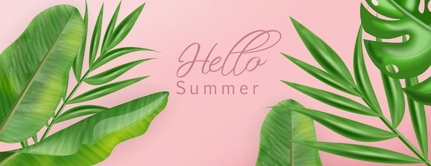 Тропик пальмовых листьев с привет лето баннер Premium векторы