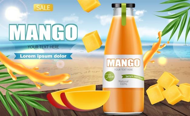 Баннер сока манго Premium векторы