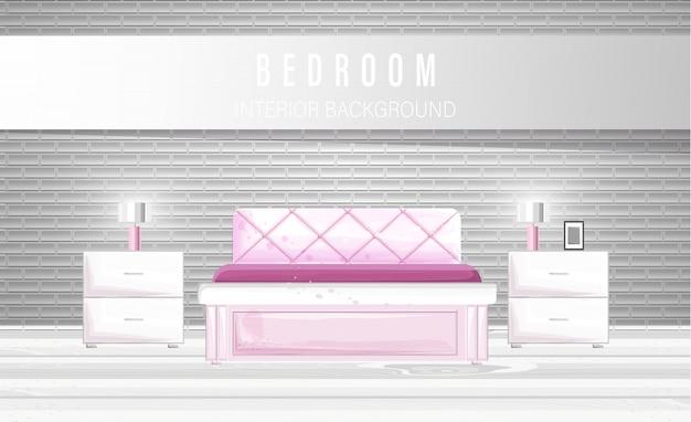 白い寝室のインテリア Premiumベクター
