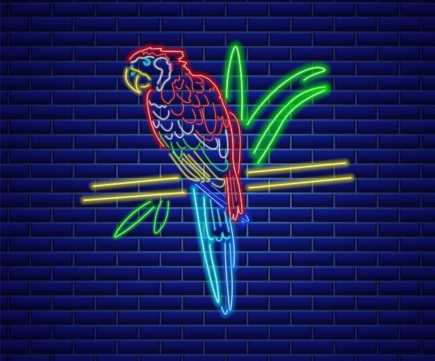 Попугай неоновая птица Premium векторы