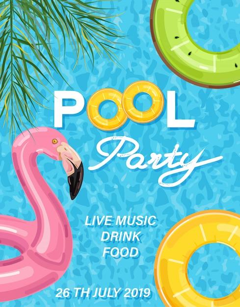 フラミンゴと夏プールパーティーポスター Premiumベクター