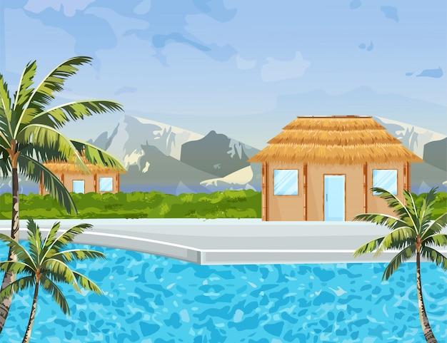 海辺の家 Premiumベクター