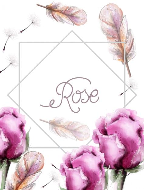バラの花の花束の水彩画 Premiumベクター
