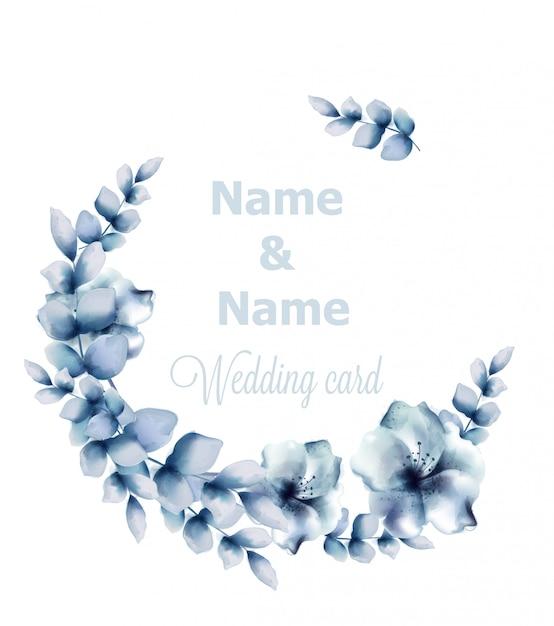 青い花のフレームの水彩画 Premiumベクター