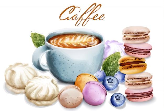 お菓子とコーヒーカップベクトル水彩画。マカロンとメレンゲ朝食のデザートビンテージスタイルのイラスト Premiumベクター