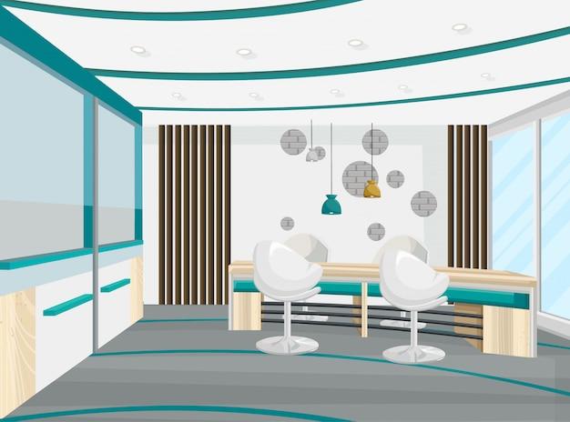 Офисный стол и стулья конференц-зал. бизнес-центр, колл-центр, банк или технологический центр интерьера Premium векторы