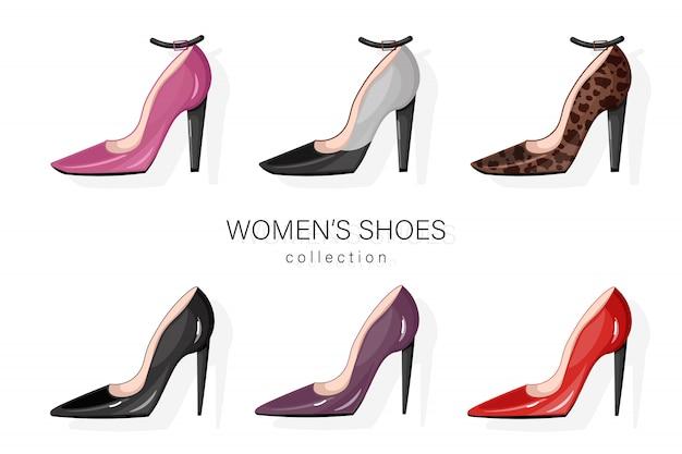 Женские туфли-лодочки установлены. Premium векторы