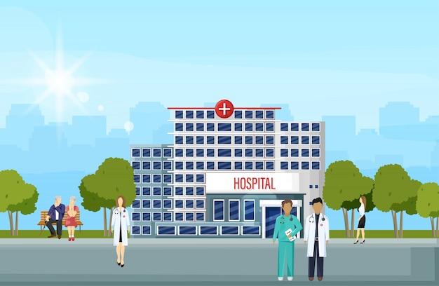 Здание больницы и люди плоский стиль Premium векторы