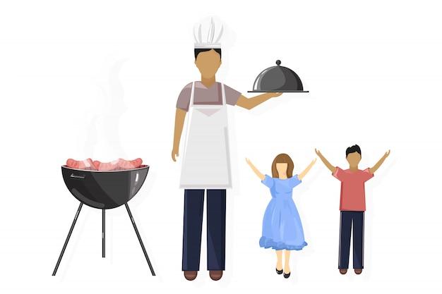 Семейный пикник, барбекю и свободное время Premium векторы