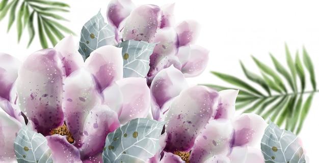 Летние цветы карты акварель. Premium векторы