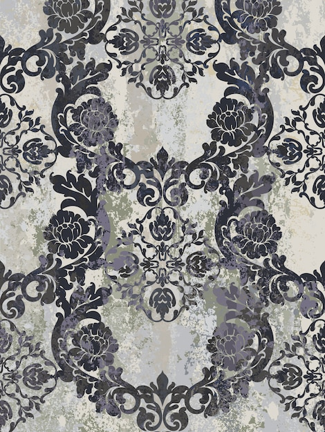 ビンテージ飾りのシームレスなパターン。バロック様式のロココ調の質感の高級デザイン。ロイヤルテキスタイルの装飾。 Premiumベクター