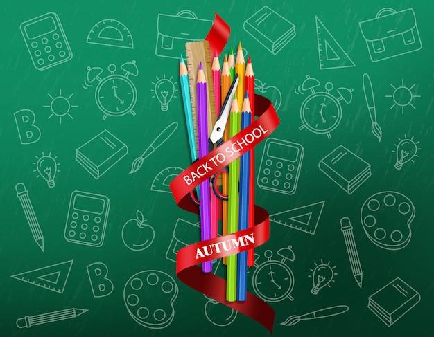 学校に戻るカラフルなクレヨン用品イラスト Premiumベクター