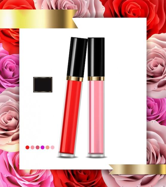 リップグロス化粧品広告 Premiumベクター