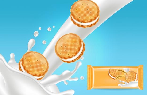 バニラクリームクッキーのモックアップ Premiumベクター