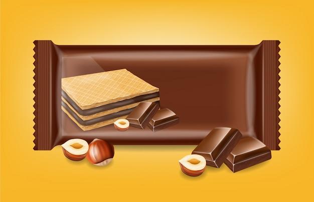 Шоколадное вафельное печенье макет Premium векторы