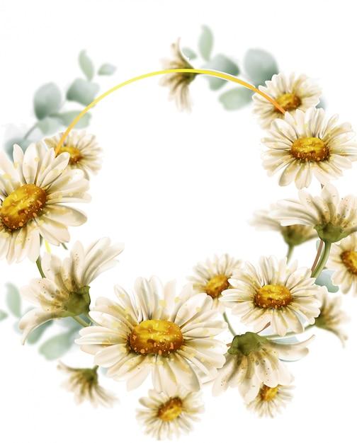 デイジーの花の結婚式の花輪水彩画 Premiumベクター