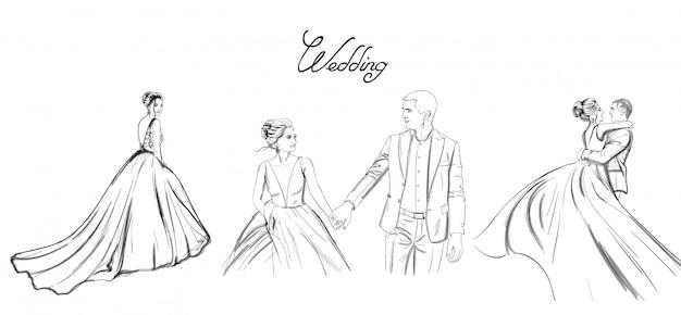 結婚式のカップルのラインセット。花嫁のシルエットのビンテージスタイル。美しいロングドレス。 Premiumベクター