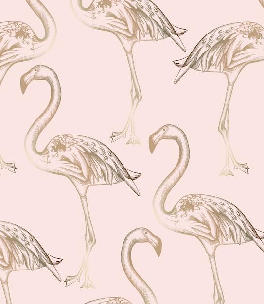 フラミンゴパターン。ビンテージレトロテクスチャラインアートの装飾 Premiumベクター