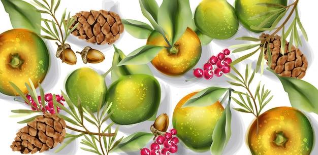 Осенний урожай шаблон акварель. осенние постеры с фруктами и яблоками Premium векторы