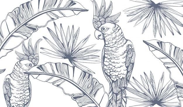 オウムカードラインアート。エキゾチックなヤシの葉の装飾。夏のパーティー Premiumベクター