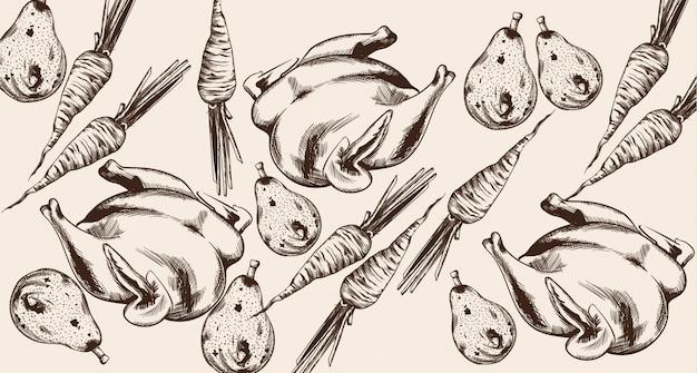 幸せな感謝祭のディナーメニューラインアート。トルコと野菜の詳細なイラスト Premiumベクター