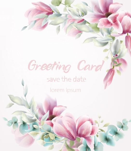 ピンクの花の花束の水彩画。青は繊細な装飾を残します。 Premiumベクター