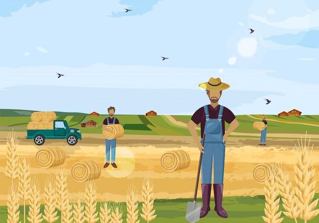 干し草畑で働く農家 Premiumベクター