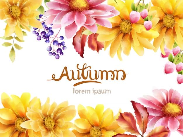 デイジーの花の秋の花束 Premiumベクター