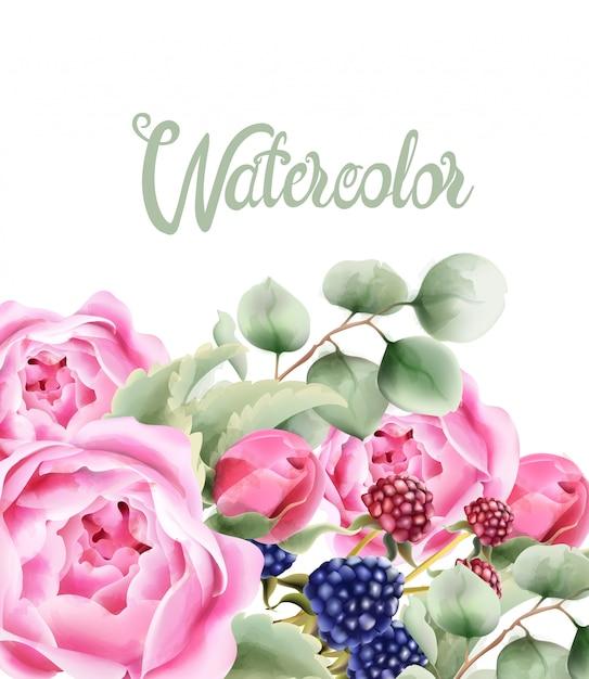 Букет дикой природы с акварельными цветами Premium векторы