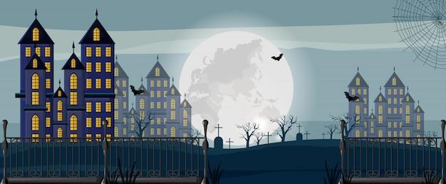 Хеллоуинский лес с замком, кладбищем и летучими мышами Premium векторы