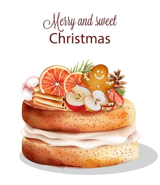 Сладкий рождественский торт с праздничными украшениями Premium векторы