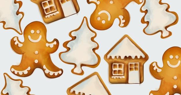 クリスマスジンジャーブレッドクッキー Premiumベクター
