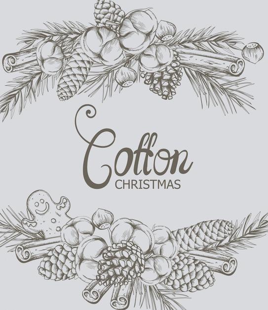 装飾と綿のクリスマス組成 Premiumベクター