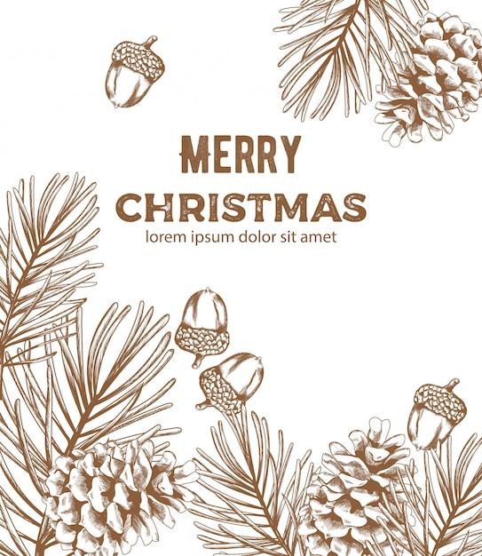 装飾品でメリークリスマススケッチスタイル構成 Premiumベクター