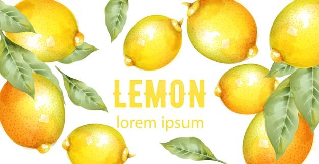 緑の葉と水彩の黄色いレモン Premiumベクター